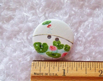 SALE - 40 Lotus Flower Buttons, Lily Pad, Wood Buttons, Girl Button, Flower Button, 30mm Button, 1.25 inch Button, Sewing, Craft Supply