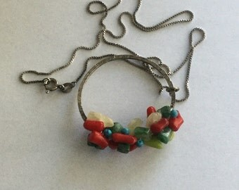 Vintage Sterling Silver Turquoise & Coral Pendant Necklace