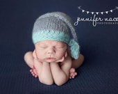 Stocking Cap Photo Prop Newborn Hat Baby Boy Mohair Beanie Going Home Infant Photography Hand Knit Elf Knitted Winter Outfit Aqua Grey Comin