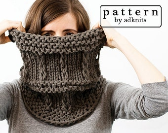 Chunky Cowl Knitting Pattern, Scarf PDF Pattern, Digital Download - Galax Cowl Pattern
