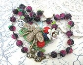 raspberry bee necklace assemblage fruit berry upcycled jewelry flower repurposed recycled old pin