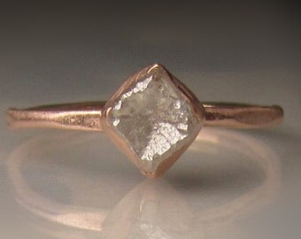 Raw Diamond Engagement Ring, 14k Rose Gold Rough Diamond Ring