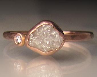 White Raw Diamond Engagement Ring, Rough Diamond Ring in 14k Rose Gold, Uncut Diamond Ring
