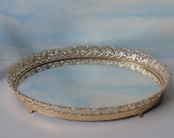 Vintage Gold tone Ornate Metal and Mirrored Oval Vanity Tray