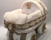 Rustic Baby Stroller / Carriage Diaper Cake  - gift or centerpiece for baby shower