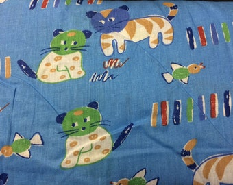 Cats on Blue Background Print 100% Cotton Fabric