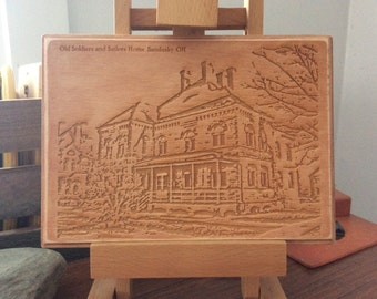 Wood plaque with laser engraving of Old Soldiers and Sailors Home in Sandusky, Ohio