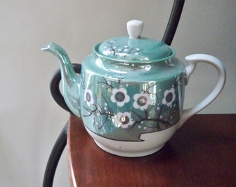 Vintage Dining Tea Makers Lusterware Teapot Green Cherry Blossoms Japan
