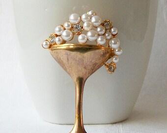Vintage Champagne Pearl Brooch, Vintage Pearl Jewelry