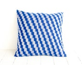 Ikat, Pillow, Cushion, Cotton, Handwoven, 16x16, Blue and Gray