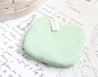 Small Mint Green Coin Purse Pastel Green Change Purse Cute Zippy Pouch
