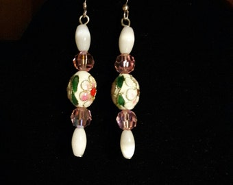 White and Pink crystal Cloisenne and crystal dangle earrings