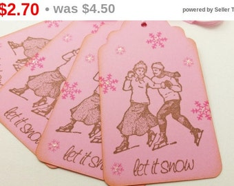 SALE Christmas Tags Skaters in Love Holiday Paper Gift Tags Victorian Christmas Tags Pink Set of 6