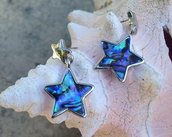 Free Shipping Vintage Star Drop Post Earring in Sterling Silver and Abalone