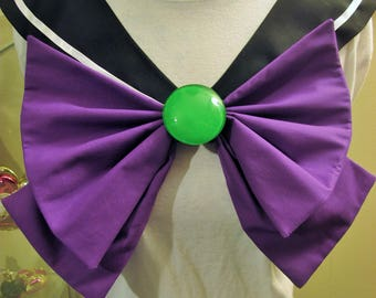 Disney Inspired Sailor Scout Maleficent- Black Collar, Purple Bow, Green Brooch