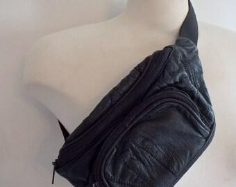 Leather Fanny Pack Vintage Black Patchwork