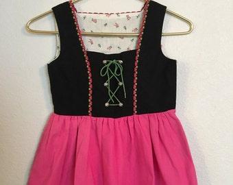 Vintage Delman Brand Girls Cotton Black and Pink Dirndl, Size 7