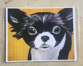 Spring Clearance print of original painting black and white chihuahua colorful background