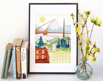 Dublin Art Print, Irish Print, Dublin Skyline Print, Dublin Poster, Travel Art Irish illustration, Gift, Home Wall Decor