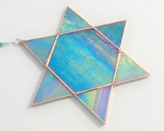 Star of David Suncatcher in Turqoise Iridescent Blue Stained Glass