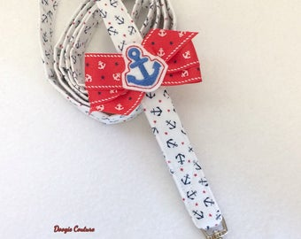 Anchors Aweigh Dog Leash With Bow by Doogie Couture Pet Boutique