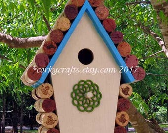 Wine Cork bird house - Mother's Day gifts,  housewarming, gifts for bird lovers and gardeners