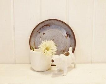 Vintage Enamel Pan, Blue and White Metal Pan, French Nordic, Cottage, Farmhouse, Rustic Decor