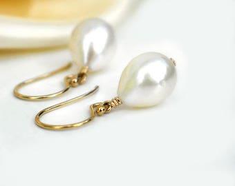 Teardrop Pearl Earrings   Ivory White Freshwater Pearls   14k Gold Filled Dangles   June Birthstone   Wedding   Everyday Simple Earrings