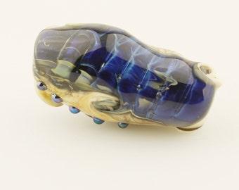 Lampwork Glass Bead, Organic Focal Gold Iridescent Blue,  Ivory