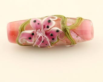 Lampwork Glass Bead, Floral Focal Pink Lily Flowers,  Dichroic Glass