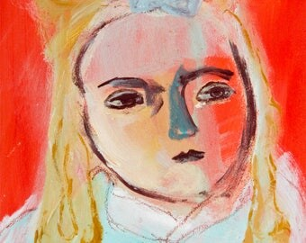Fine Art Print, Giclee Art, from painting, modern wall art red turquoise, face girl Urraca by Ana Gonzalez