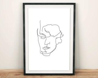 Contour Man 1 Line Art Print, Line Drawing, Figure Drawing, Modern Art, Minimalist Wall Art, Modern Art, Wall Decor, Design