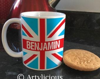 Personalised Retro Union Jack flag Coffee cup Tea mug