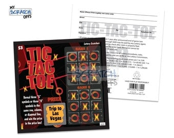 Scratch Off Lotto Replica (1 card) Tic-Tac-Toe Scratch-Off Game Card with Custom Personalized Message