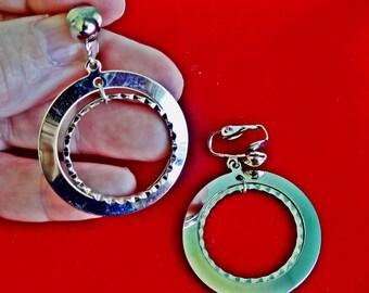 "Vintage silver tone hoop 2"" clip earrings in great condition"