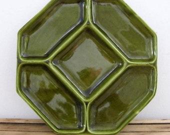 Vintage French Cousances Fondue Plate, green, 1960