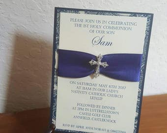 COMMUNION/BAPTISM Fancy Navy, Paisly and Pearl Shimmer 5x7 Invitation with Swarovski Crystal Cross