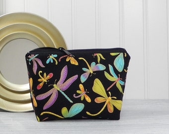 Dragonfly cosmetic pouch, small makeup bag, zipper pouch, small clutch, multicolor dragonfly