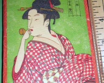 Geisha Wagami Wallet Notebook / Geisha Smoking Pipe / Geisha With Fan / Free Shipping