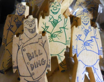 Bag O' Bill Dings  Vintage Quirky Wood  Blocks  1930's  Fun With Bill Ding Pack Of Ten