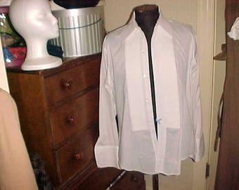Vintage Tuxedo Shirt MR.WITT Usa 16/33 Button Front FRENCH Cuffs Unisex