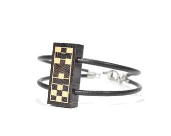 Bracelet - men - leather -  men bracelet - jewelry - wood- reversible