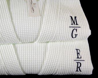 Monogram Robes, His and Hers Robes, Cotton Anniversary Gift, Wedding Robes, Monogram Bathrobe, Set of 2 Robes