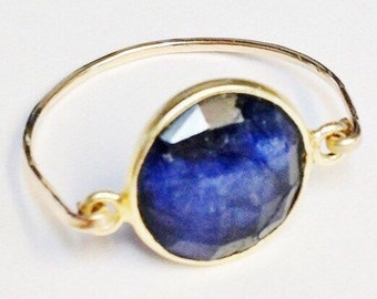 Sapphire Ring    Blue Sapphire Ring   14K Gold Filled Ring   Sapphire Jewelry  September Birthstone