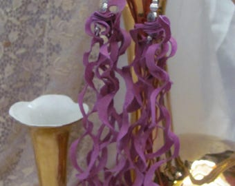 """Earrings Beautiful Unique Pink Suede Leather 10"""" Inch Long Curly Fringe Earrings (D12)"""
