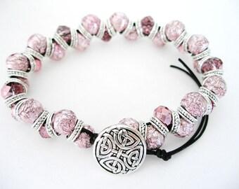 PINK Crystal IRISH Goddess CELTIC Knot Bracelet Pink Foil-Irish Jewelry