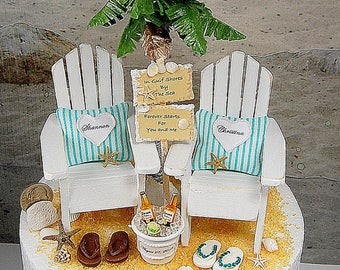 """CORONAS FOR TWO Beach Wedding Topper No Base Fits 6"""" Cake Top Honeymoon Beverage/Rustic Wedding Sign Your Wording Made To Order Your Colors"""