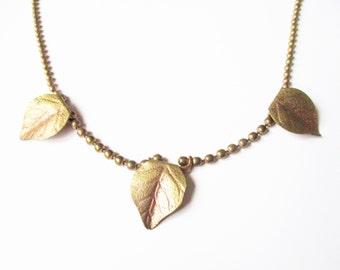 Golden leaf necklace: lovely bright yellow gold plated brass leaf necklace, woodland necklace, autumn leaf necklace, leaf pendant