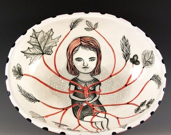 Holiday Sale Large Oval Salad Bowl with Painting by Jenny Mendes Original One of a Kind Art Bowl