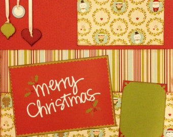 Merry Christmas 2 Page Layout 12x12 Scrapbooking Kit Premade
